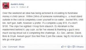 Propuesta original el pasado 14 de junio de Vicki Moses, madre de un niño paciente de cancer.