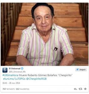 """Muere el escritor y comediante Roberto Gómez Bolaños """"Chespirito"""""""