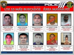 """Policía publica la lista de los """"10 más buscados"""" en el área de Mayagüez"""