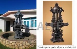 La fuente de bronce ubicada frente a la Casa Alcaldía de Maricao costó $139 mil, mientras que por Internet se podia conseguir por solo $19 mil (Composición fotos publicadas en Informe de la Contralor).