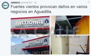 Fuertes vientos provocan daños en oficina ACAA y negocios en Aguadilla