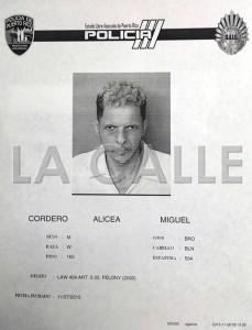 """Ficha de Miguel Cordero Alicea. Haga """"click"""" para ampliar la imagen (Suministrada Policía)."""