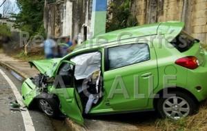 Uno de los carros involucrados en el accidente (Foto Facebool Rescate Cortés).