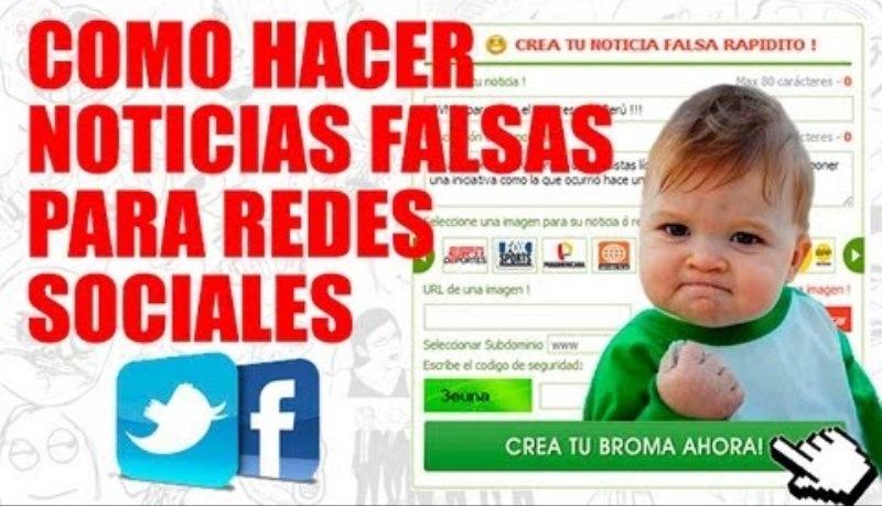 """Captura de pantalla de un sitio de Internet dedicado a """"crear"""" noticias falsas para redes sociales (Fuente YouTube)."""