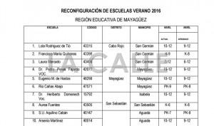 """Educación ofrece lista de escuelas """"reconfiguradas"""" en el Oeste"""