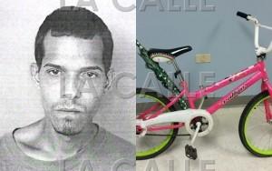 Foto de la ficha de Carlos Sánchez Vélez y de la bicicleta Rosada que presuntamente usaba para cometer fechorías (Suministradas Policía).