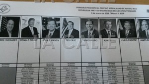 Papeleta utilizada durante la primaria republicana (Foto LA CALLE Digital).