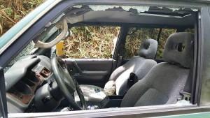 Uno de los vehículos vandalizadas en la carretera hacia el Zoológico (Foto Facebook).