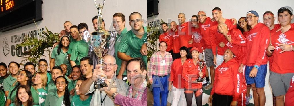 Los equipos de Natación del Colegio de Mayagüez y de la UPR de Río Piedras (Foto Luis F. Minguela - LAI).