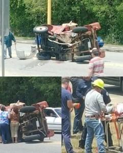 Escena del accidente ocurrido en la carretera PR-116 en Lajas (Fotos Facebook por Vilmarie López)