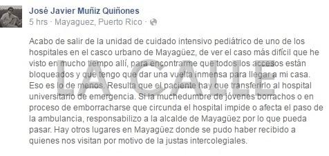 Comentario del Dr. José Javier Muñiz en su muro de Facebook (Captura de pantalla Facebook).