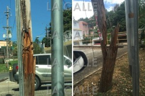 """A la izquierda, el poste de la carretera 104 en noviembre de 2014; mientras que a la derecha, este es el resultado del deterioro en la actualidad. Pero """"desafortunadamente"""" no está en la PR-2, donde todo el mundo lo ve (Fotocomposición LA CALLE Digital)."""