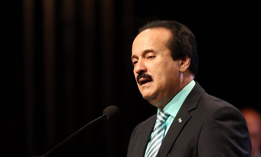 José Guillermo Rodríguez, alcalde de Mayagüez, durante su mensaje de presupuesto (Suministrada).