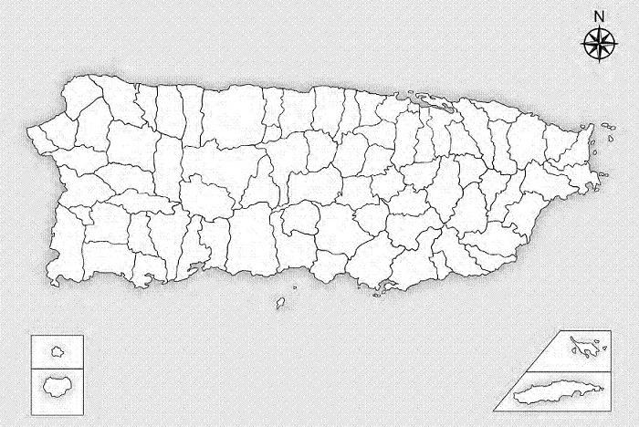 Mapa politico de Puerto Rico.