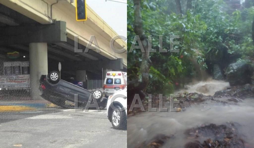 Uno de los accidentes reportados el martes en Mayagüez. Nótese el semáforo fuera de servicio. Y la intensidad de las lluvias que cayeron en la tarde en la zona (Fotos Facebook de Héctor Vélez Vázquez e Ileana Rodríguez Justiniano).
