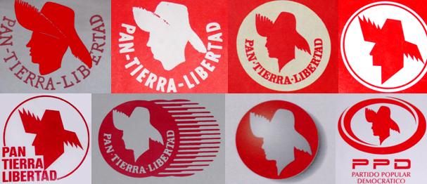 Emblemas usados por el PPD a lo largo de su historia.
