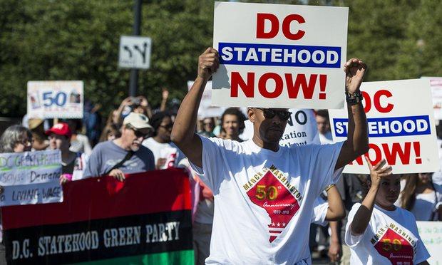 Manifestantes pro estadidad en Washington, D.C. (Archivo).