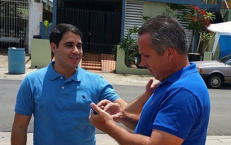 El candidato del PNP al escaño cameral del Distrito 20, Carlos Flores, y el candidato a alcalde de Cabo Rojo, Jorge Morales Wiscovitch (Suministrada).