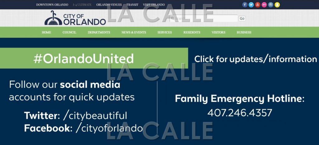 """Inicio de la página """"web"""" de la Ciudad de Orlando (Fuente Internet)."""