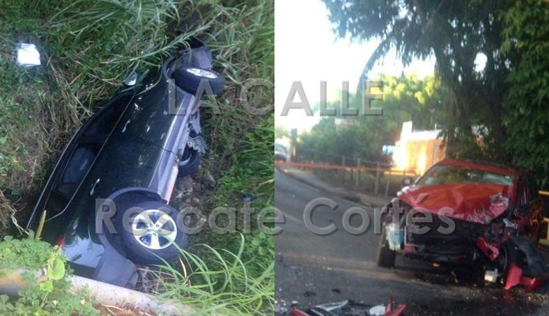 Condición de los vehículos involucrados en el accidente fatal ocurrido en San Sebastián (Fotos Rescate Cortés).