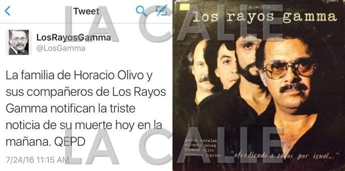 """El mensaje de Twitter de Los Rayos Gamma confirmando la muerte de Olivo junto a la carátula de un disco de """"Los Gamma"""", en el que aparece Olivo en primer plano."""