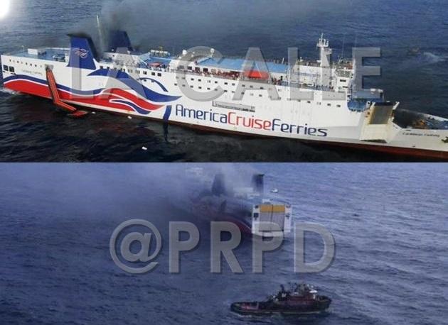 El ferry Caribbean Fantasy durante el incendio (Fotos Twitter @PRPD).