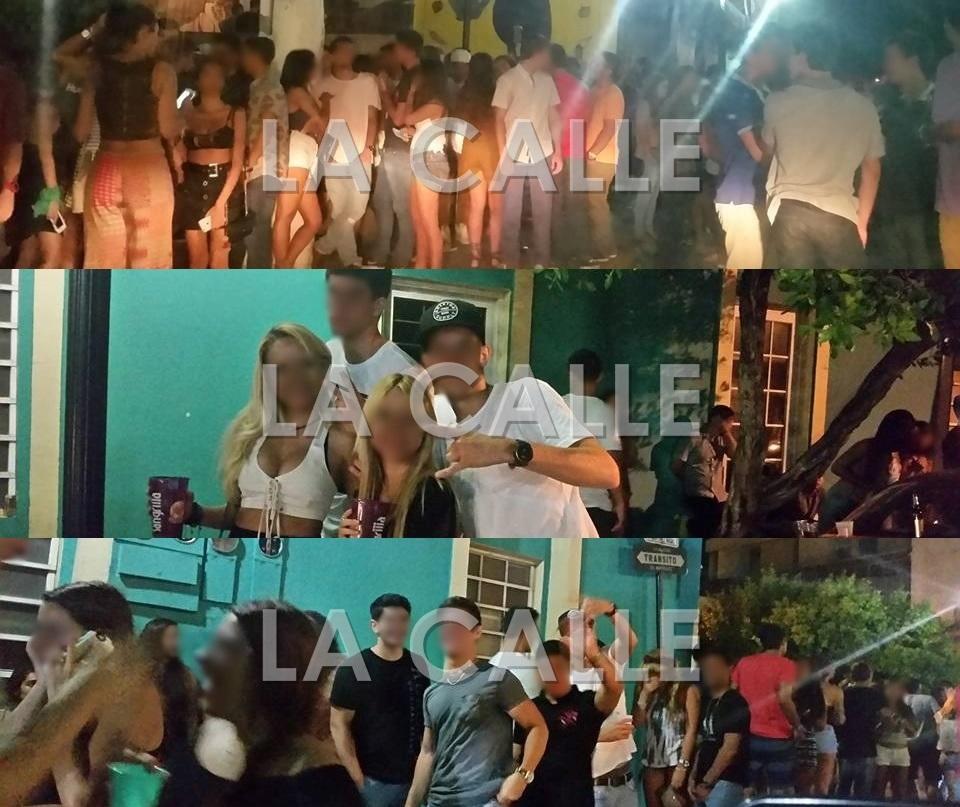 Ambiente del jueves en la madrugada en las calles de Mayagüez. En medio de este bullicio, un estudiante salió herido (Fotos Facebook).