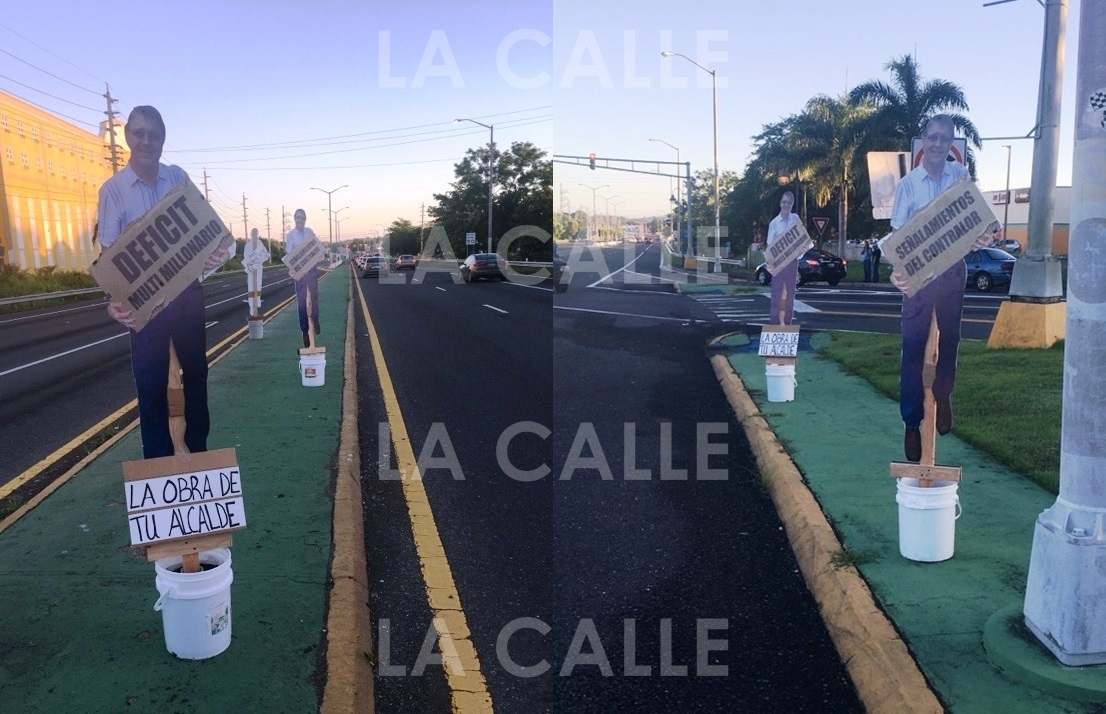 La propaganda fue colocada en la carretera PR-100 de Cabo Rojo, en la entrada al casco urbano (Suministradas).