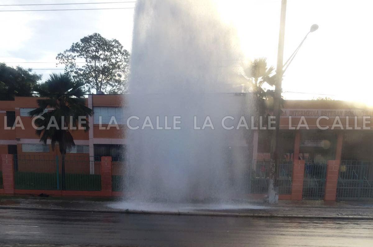 Esta era la vista el viernes en la mañana frente a la escuela Esteban Rosado Báez de Mayagüez (Suministrada).