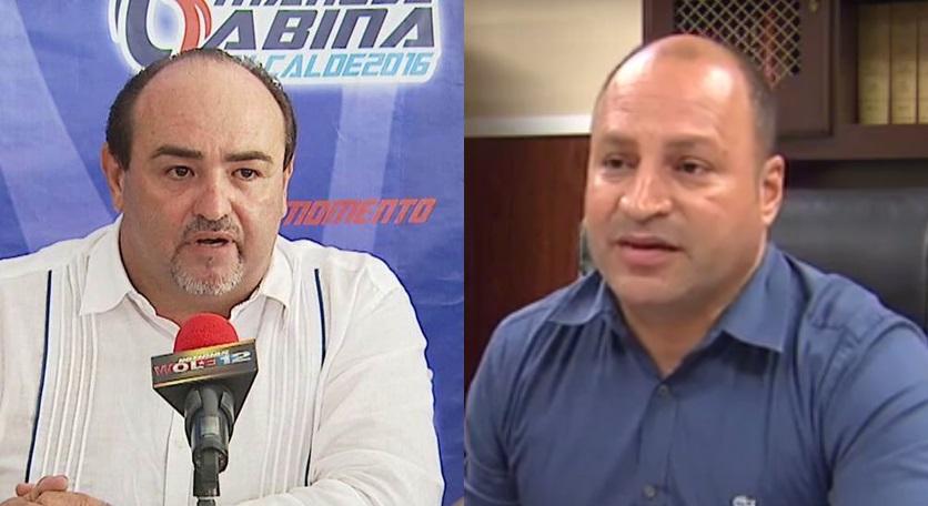 """El candidato del PNP, Manuel """"Gabina"""" Santiago; y el alcalde del PPD, Jessie Cortés (Capturas de pantalla WOLE 12)."""