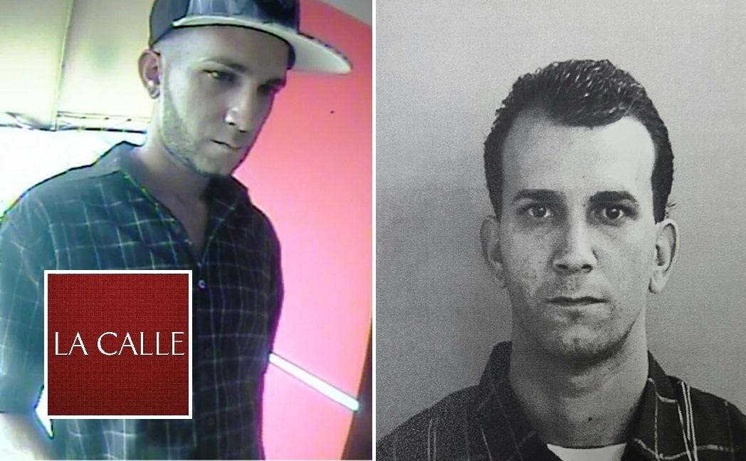 Fotos de la ficha de Armando J. Rodríguez Reyes y del momento en que estaba cometiendo la fechoría en un cajero automático (Suministradas Policía).