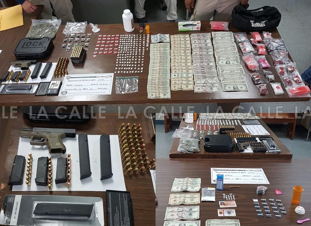 Evidencia ocupada durante allanamientos en residencias del barrio Trastalleres de Mayagüez (Suministradas Policía).