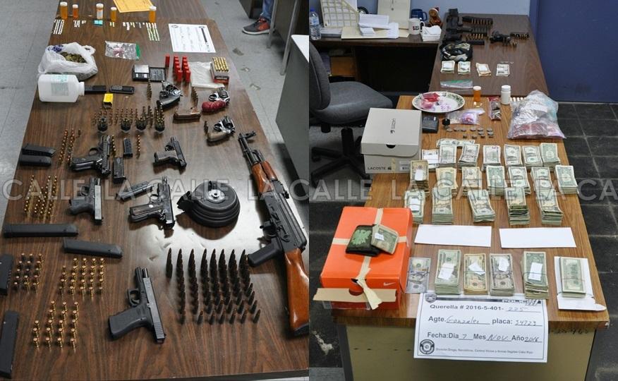 Drogas, armas y dinero confiscado en Cabo Rojo (Suministrada Policía).