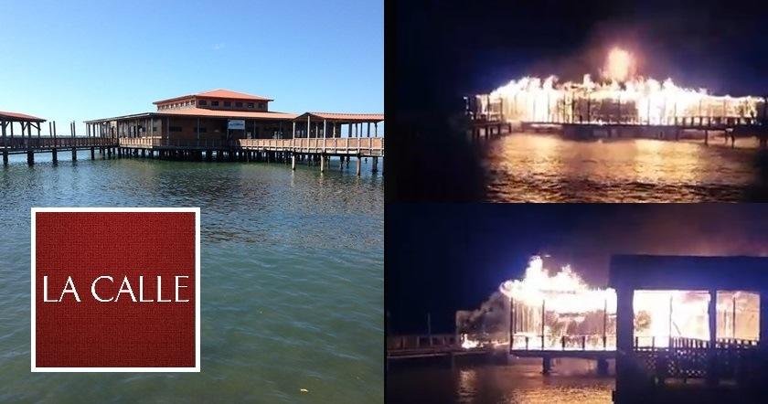 Un voraz incendio destruyó el Muelle de los Franceses. A la izquierda, su aspecto antes del fuego y a la derecha capturas de pantalla del incendio (Fuente Facebook Live de Raymond Rivera Ramos).