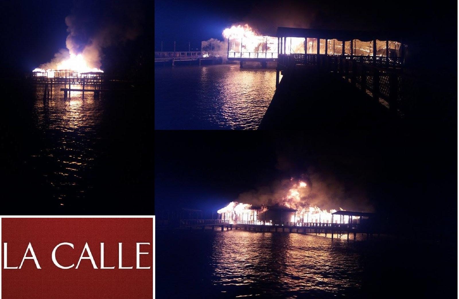 Varias gráficas del fuego que destruyó el Muelle de los Franceses (Fotos cortesía de Raymond Rivera Ramos).