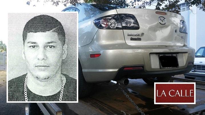 Foto de la ficha de Samuel Y. Rodríguez Quiñones y del carro que presuntamente hurtó (Suministradas Policía).
