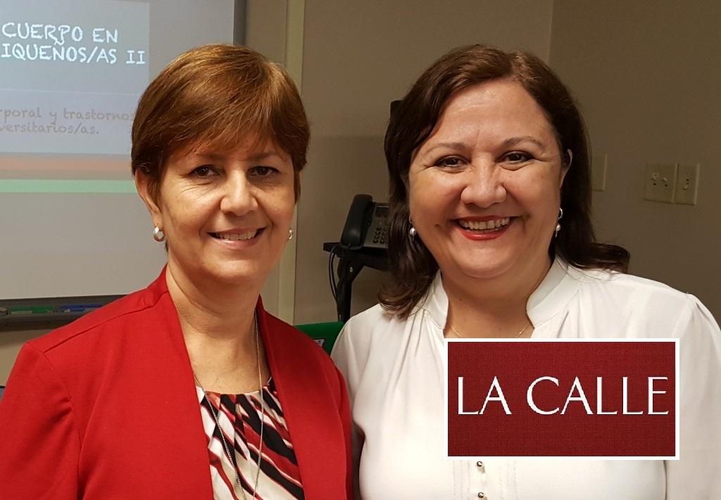 En el orden acostumbrado, las profesoras Antoinette Alom y Juana Castillo, tras la presentación del estudio (Suministrada/UPR-Cayey).