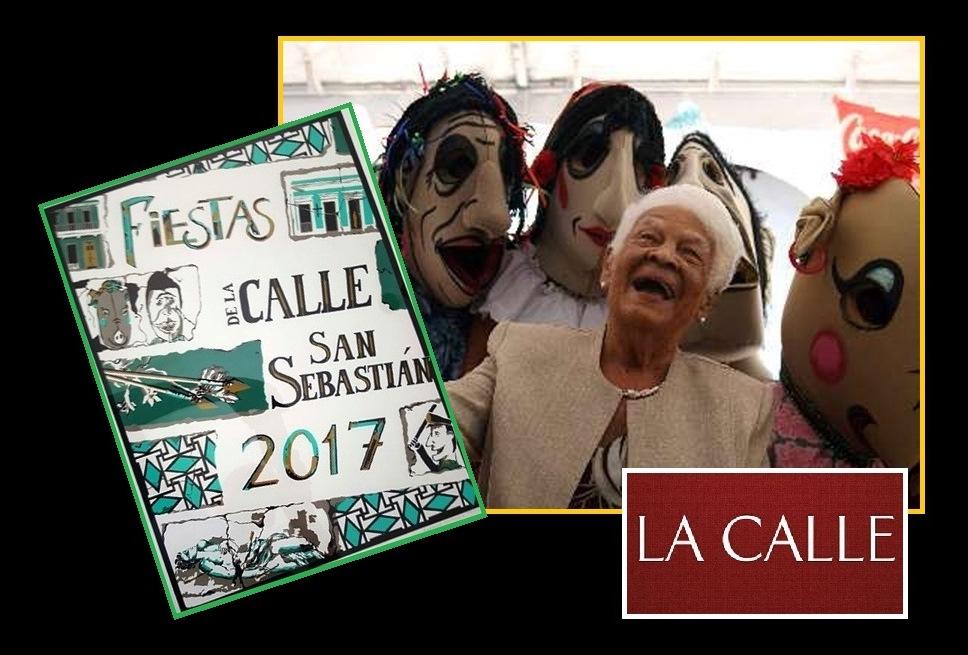 """Doña Rafaela Balladares (QEPD), junto a los """"cabezudos"""" y el cartel de las Fiestas de la Calle San Sebastián 2017 (Fotomontaje LA CALLE Digital)."""