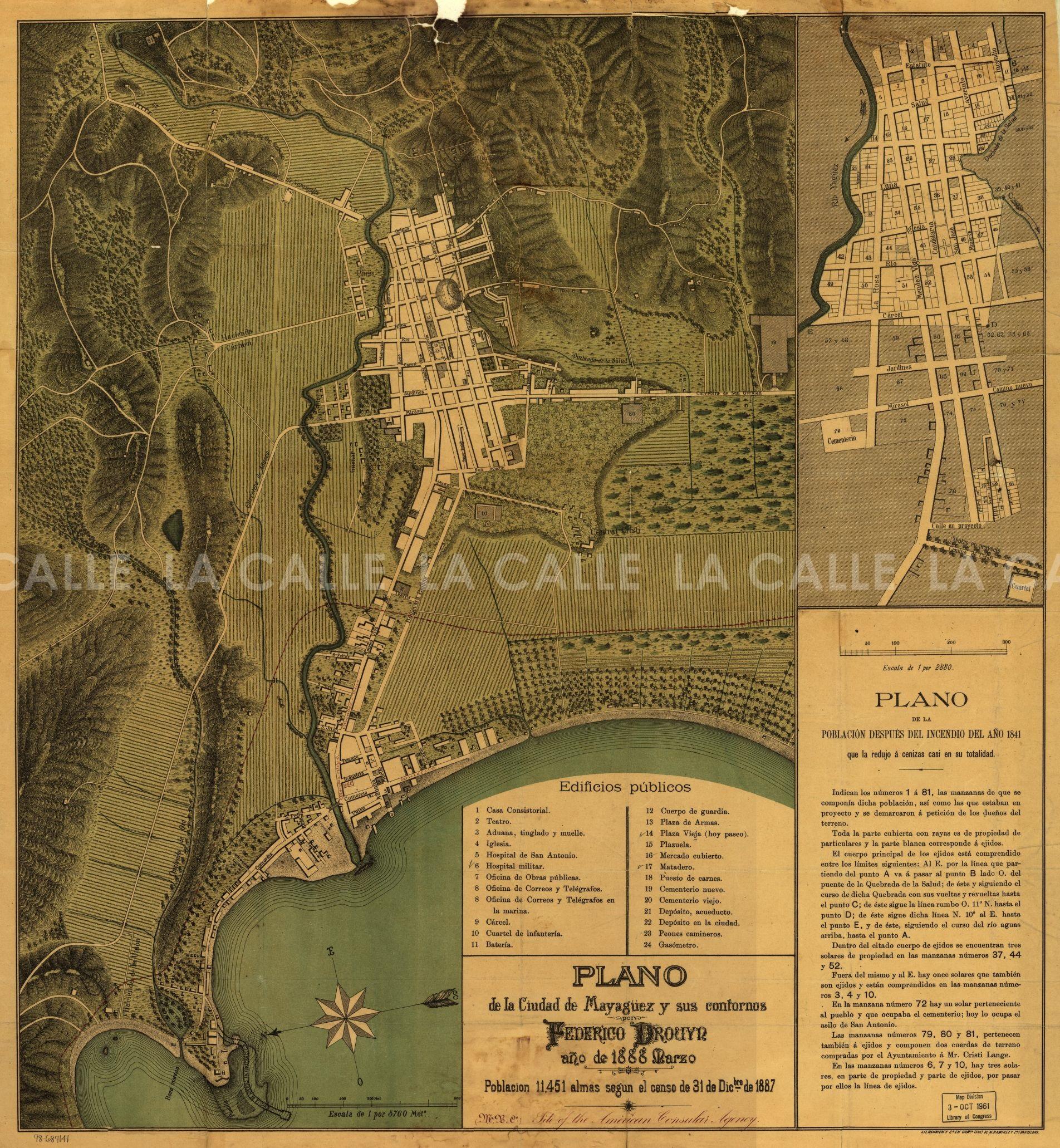 """Mapa de Mayagüez preparado en 1888, luego del """"Fuego Grande"""" (Fuente/Librería del Congreso)."""