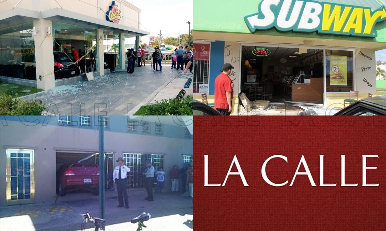 Arriba, a la izquierda, el accidente ocurrido recientemente en el Church's Chicken de San Sebastián. A la derecha, el impacto contra el Subway de Plaza Los Peregrinos de Hormigueros en el 2014. Abajo, a la izquierda, el accidente en el que un carro quedó dentro de la sucursal de lo que hoy es el Banco Popular en el Mayagüez Mall (Fotomontaje/LA CALLE Digital).