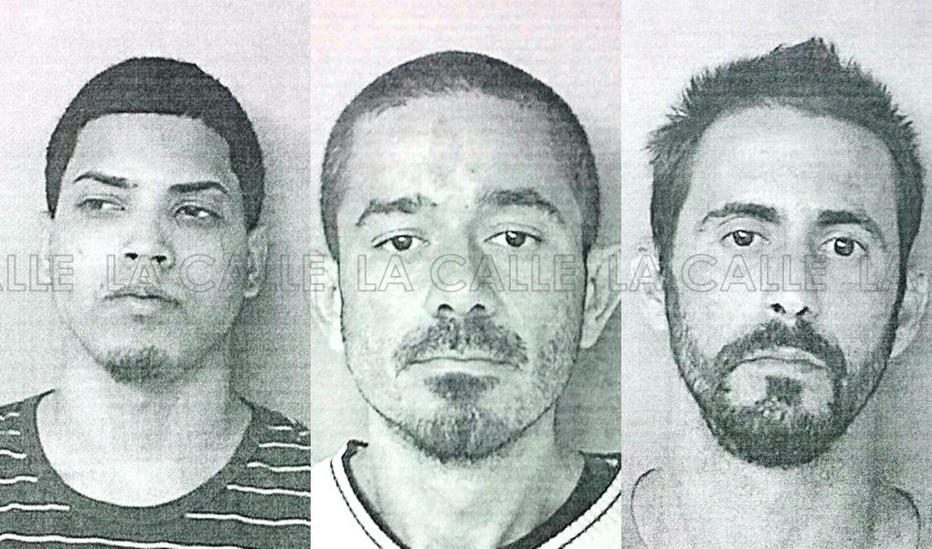 Fotos de las fichas de Harrison González Rivera, Joshua Rivera Sus y Víctor S. Ortiz Acevedo (Suministradas/Policía).