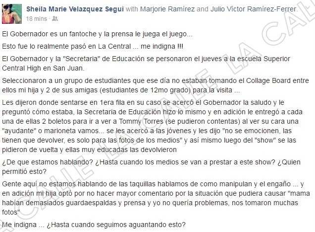 Velázquez Seguí narra la situación en su cuenta de Facebook (Captura de pantalla/Facebook).