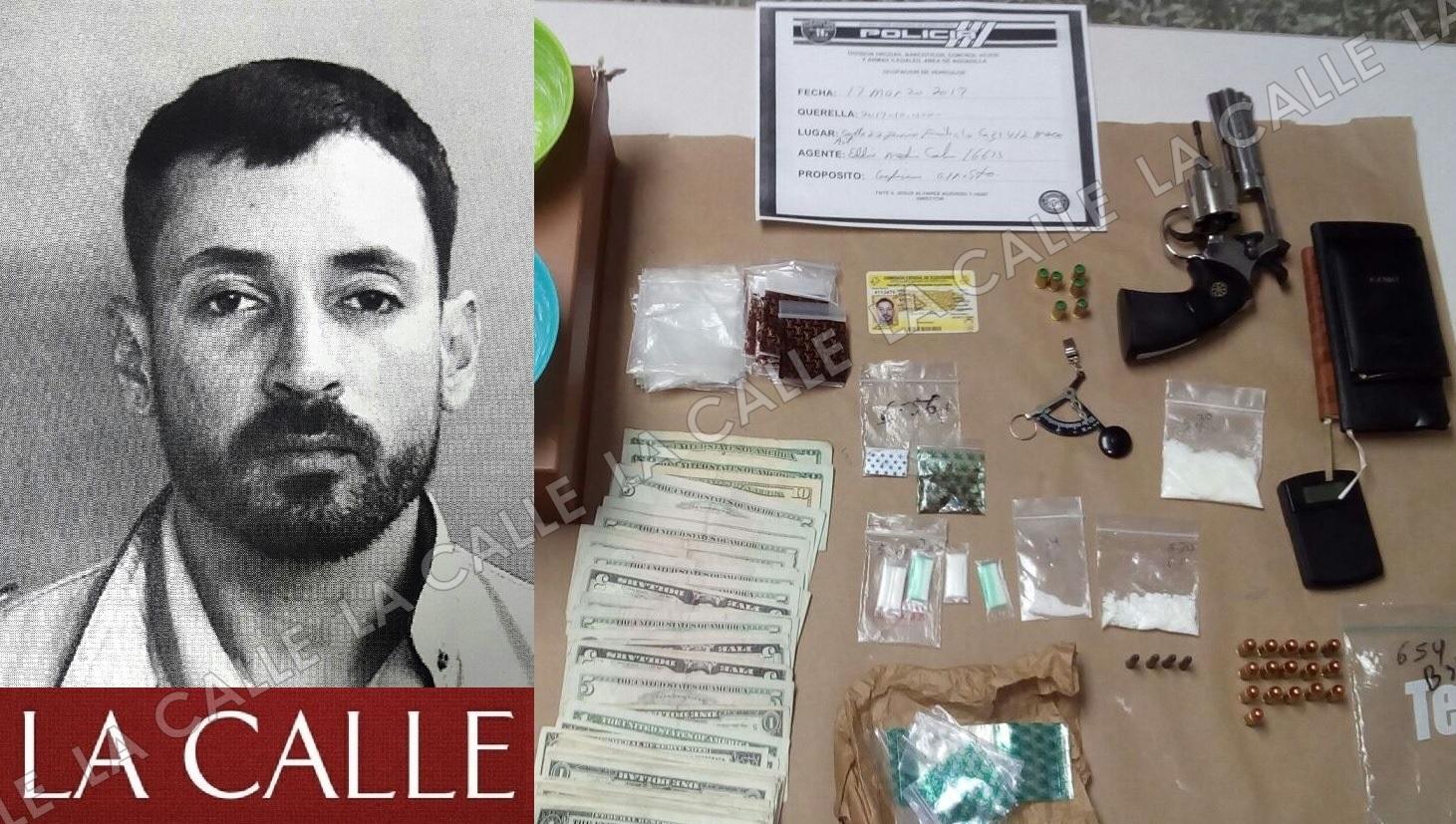 Foto de la ficha de Christian Dávila Soto y material confiscado por los agentes de la División de Drogas de Aguadilla (Suministradas/Policía).