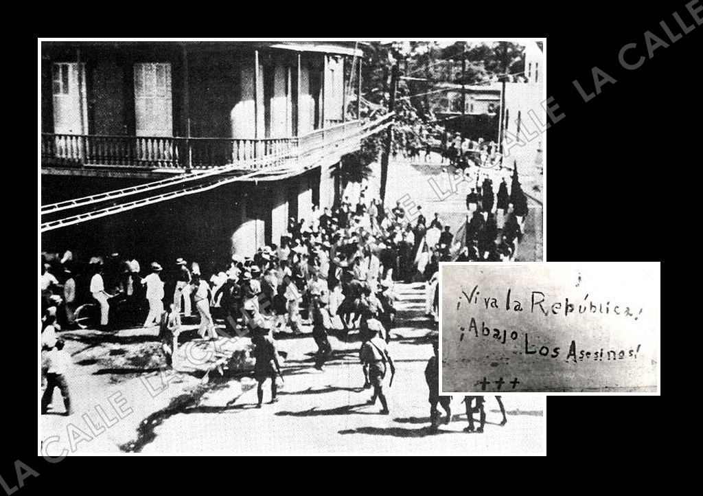 Fotos de la Masacre de Ponce tomadas por el fotoperiodista Carlos Torres Morales, del desaparecido periódico El Imparcial. Una de las fotos muestra las frases escritas con su sangre, poco antes de morir, por Bolívar Márquez Telechea (Archivo/El Imparcial).