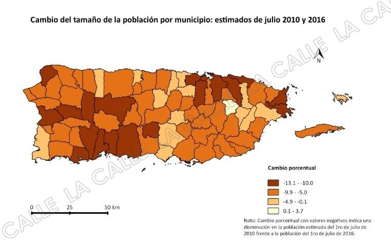 Mapa que muestra la reducción de población por municipios en los pasados seis años (Fuente/Instituto de Estadísticas).