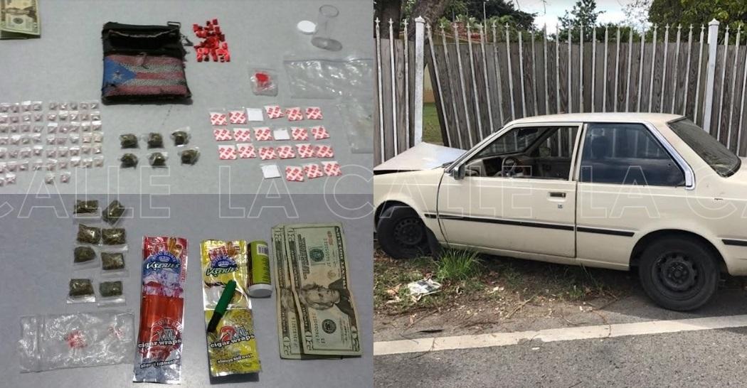 Droga ocupada al trío y el carro en el que viajaba (Suministrada/Policía).