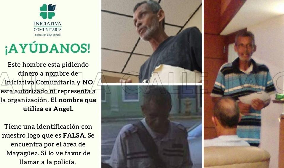 Fotos del tal Ángel, que supuestamente pide a nombre de Iniciativa Comunitaria (Suministradas).