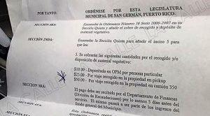 Ordenanza dispone cobro de hasta $50 por recoger material vegetativo en San Germán