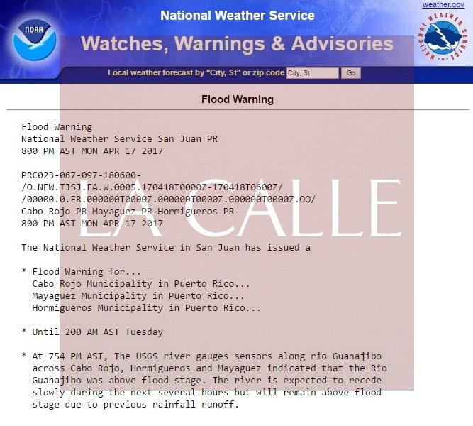 Boletín de las 8:00 de la noche del Servicio Nacional de Meteorología (Captura de pantalla).