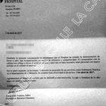 """Carta de despido entregada el pasado 3 de abril a una de las enfermeras prácticas. Haga """"click"""" sobre la imagen para ampliarla"""